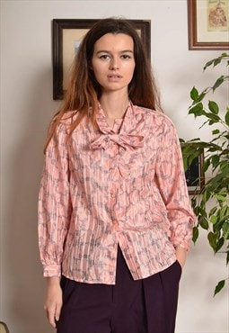 Vintage 80s Satin Blouse with Bow Tie in Pink