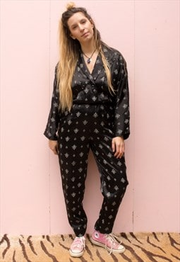Vintage 80's Full Length Satin Printed Jumpsuit