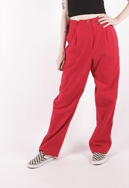 Vintage 90s Wool Red Tapered Cigarette Trousers /OO1040