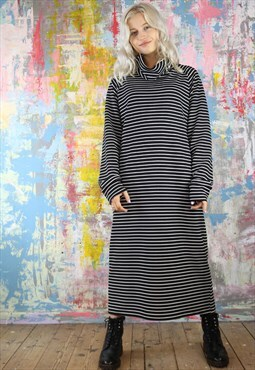Oversized Maxi Dress in black n white stripes with cowl neck