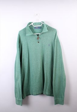 Vintage Mens Green Ralph Lauren Quarter Zip Jumper