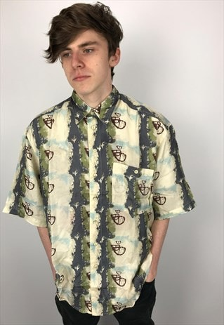 90S VINTAGE PURE SILK PATTERNED FESTIVAL SHIRT