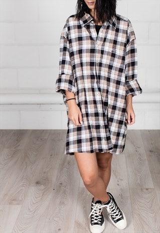 VINTAGE RETRO CHECKED UNISEX SHIRT DRESS
