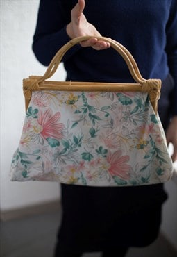 Vintage 70's White Flower Print Bag