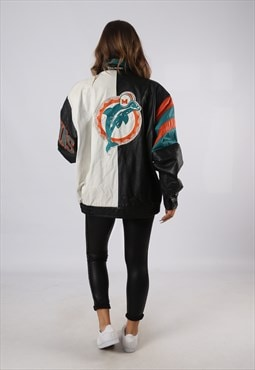 Leather bomber jacket USA Miami Dolphins NFL UK 18 20 (HCCH)