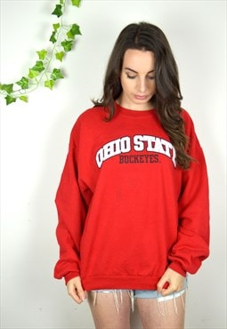 90's Vintage Red Ohio State Sweatshirt