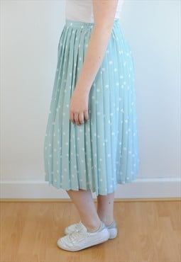 Womens Vintage 80s skirt blue spotty pleated high waisted