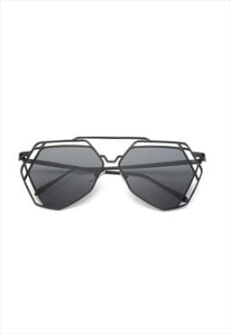 Lauren Hexagon Mirror Sunglasses Black