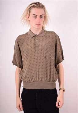 Yves Saint Laurent Mens Vintage Polo Shirt Medium Brown 90s