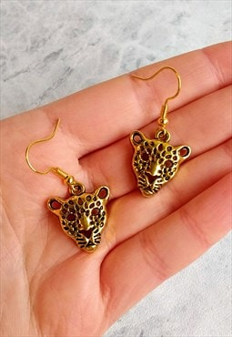 Antique-style Leopard Earrings Gold-tone