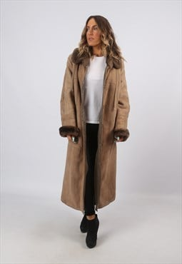 Sheepskin Shearling Suede Long Coat UK 14 - 16 (A8BD)