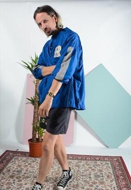 Vintage baseball windbreaker jacket in blue