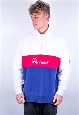 Vintage Penfield 1/4 Zip Sweatshirt in White, Red & Blue