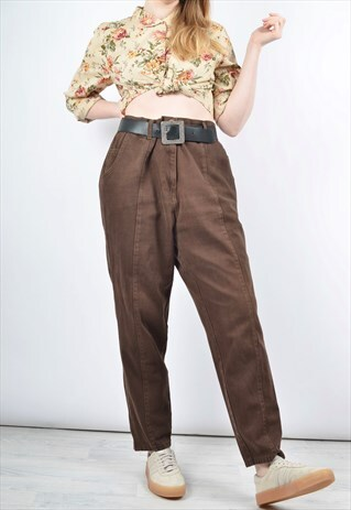 VINTAGE 80S HIGH WAIST DENIM MOM JEANS IN BROWN