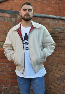 Mens Beige Cream harrington bomber jacket