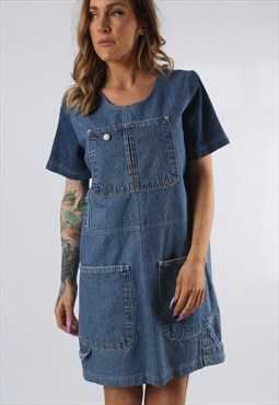 Vintage Denim Dress BICH REWORKED Dungarees UK 10 - 12 (DDJ)