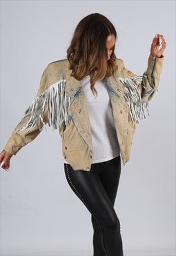 Vintage Denim Tassel Fringe Jacket ACID WASH UK 8 XS (J3L)