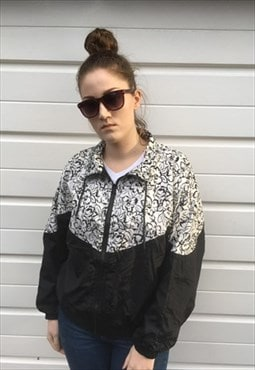 Womens Vintage 80s jacket black white floral shell suit top