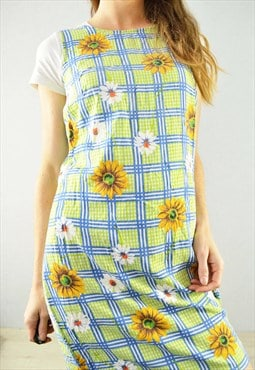 Vintage 60s Mini Shift Dress Sunflower Floral Check Tartan