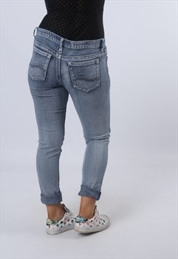Low Rise Stretch Denim Jeans Skinny Leg Vintage UK 10 (D9EG)