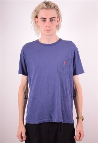 POLO RALPH LAUREN MENS VINTAGE T-SHIRT TOP SMALL BLUE 90S