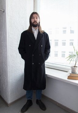 Vintage 80's Grey/Black Double Breasted Wool Coat