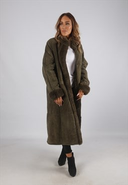 Vintage Sheepskin Suede Shearling Coat Long UK 14 - 16 (J9AP