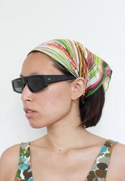 90s/ Y2K Green Stripes Print Bandana / Headscarf / Scarves
