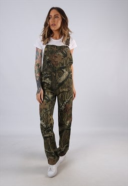 Vintage Patterned Dungarees Camo Wide Straight UK 8 XS (LC3C