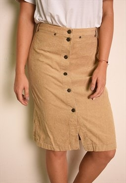 90's retro beige highwaisted corduroy button down midi skirt