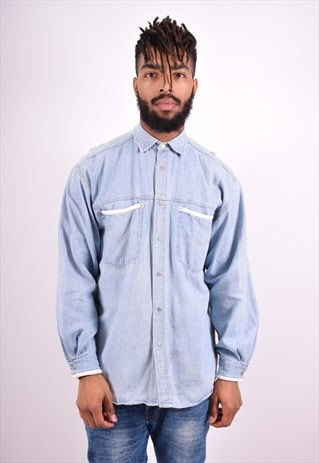 MENS VINTAGE DENIM SHIRT LARGE BLUE 90'S