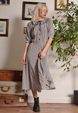 Vintage 70s Frill Collar Button Up Stripe Maxi Dress in Grey