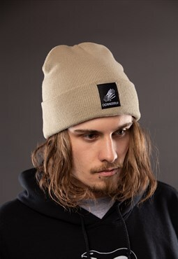 Classic Beanie in Beige with Logo