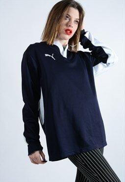 Vintage Puma Rugby Top with embroidered logo in Blue