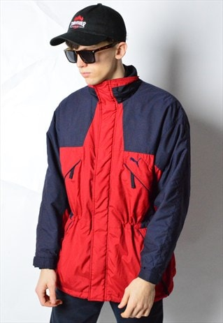 VINTAGE 90S RED NAVY BLUE COLOUR BLOCK PUMA SKI JACKET