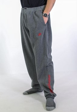 Vintage Nike Leg Logo Joggers in Grey Large