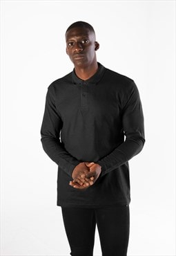 Essential Long Sleeve Collared Polo Shirt Top - Black