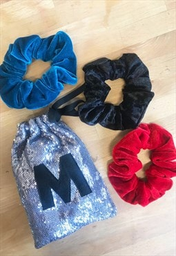 3 Personalised Reworked Velvet Scrunchies & sequin gift bag