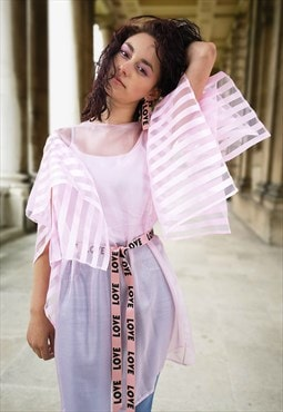 Pink Shimmering Chiffon See through Shirt