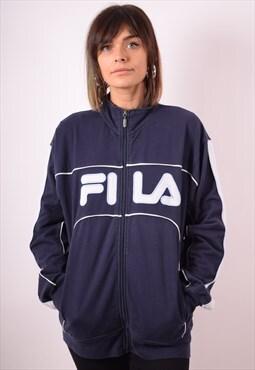 Fila Womens Vintage Tracksuit Top Jacket Large Blue 90s