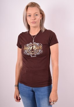 Hard Rock Cafe Womens Vintage T-Shirt Top Small Brown 90s