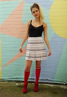 Mini skirt, vintage 70s, white, striped, a-line, pleated