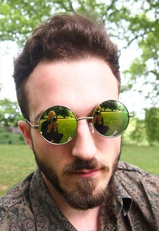 GREEN REFLECTIVE CIRCLE FRAME SUNGLASSES
