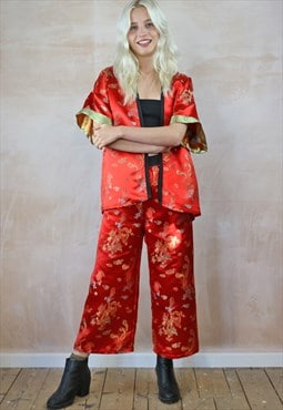 Crop Trousers & Kimono  Co-ordinates in Red Chinese Dragon