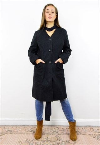 VINTAGE 90S BLACK WOOL LONG LINE COAT