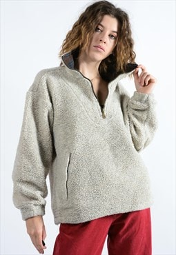Vintage 1/4 Zip Pullover Fleece In Beige
