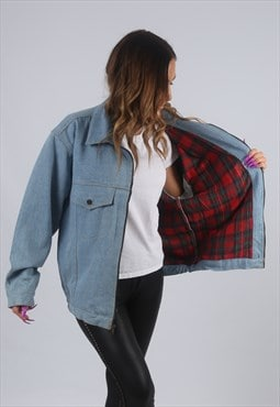 Vintage Denim Jacket Oversized Bomber Tartan UK 14 (KBU)