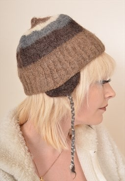 Vintage Wool Striped Trapper Hat Hat in Cream