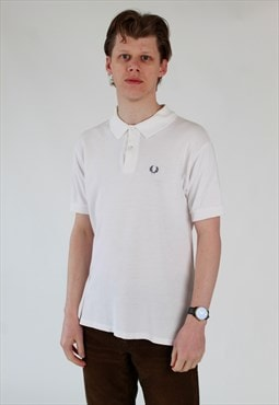 80s Fred Perry white polo shirt Made in England 42""