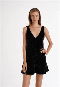 Black Velvet Low-Cut Back Night Dress